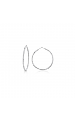 Miss Mimi Silver Diamond Cut Hoop Earrings 35mm 13-092446-01 product image