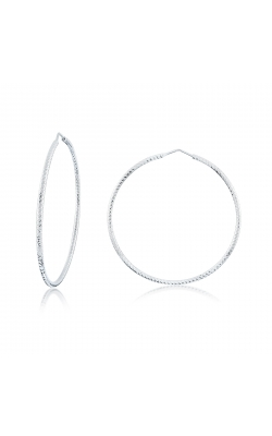 Miss Mimi Silver Diamond Cut Hoop Earrings 55mm 13-092448-01 product image