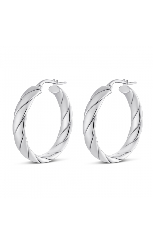 Miss Mimi Silver Lucia Wrap Quilt Hoop Earring 30mm 13-403562-01 product image